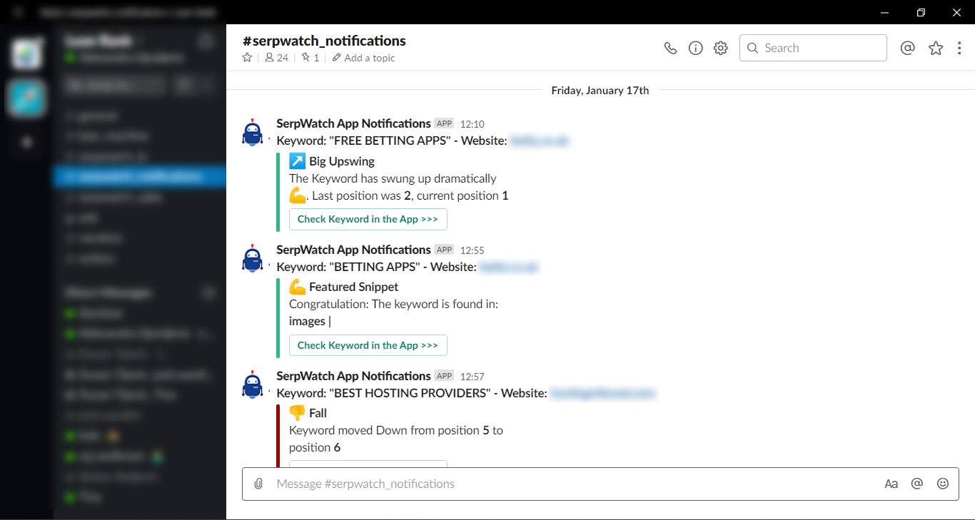 SerpWatch Notifications Slack2