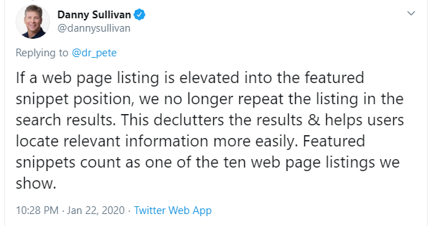 Featured Snippet Google Algorithm Update Confirmation