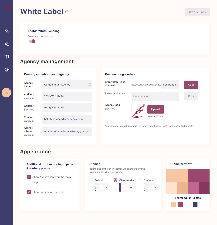 SerpWatch White Label Create Agency