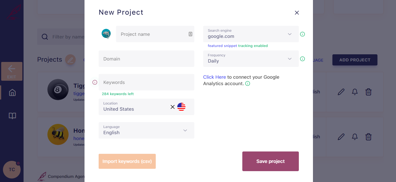 SerpWatch White Label Create Client Project