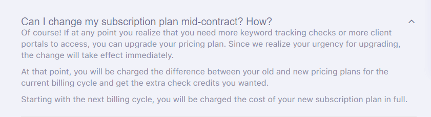 SerpWatch Change Subscription Plan
