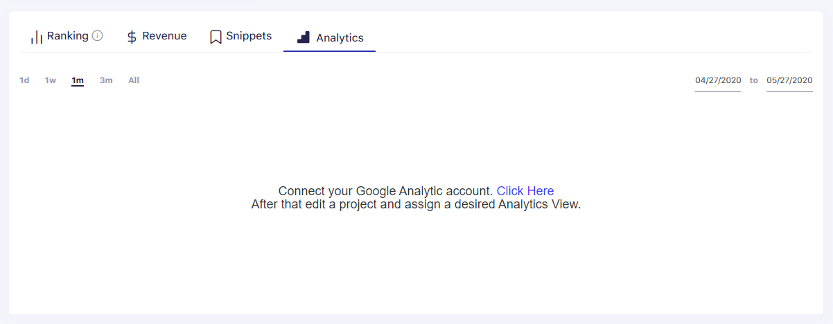 SerpWatch Analytics Chart Connect GA